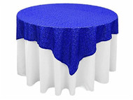 "AK-Trading 72""x72"" Grand Duchess Beaded Sequin Table Cover or Overlay (Royal Blue)"