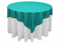 "AK-Trading 72""x72"" Grand Duchess Beaded Sequin Table Cover or Overlay (Turquoise)"