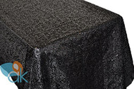 AK-Trading BLACK Sequin Rectangular Tablecloth, Rain Drops Sequin Taffeta Fabric Sequin Table Cover- BLACK