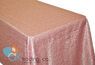 AK-Trading BLUSH PINK Sequin Rectangular Tablecloth, Rain Drops Sequin Taffeta Fabric Sequin Table Cover- BLUSH PINK