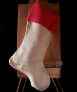 """AK-Trading Burlap Jute Holidays Christmas Stockings - Pack of 6 (Natural Jute Stocking with Red Cuff, 10"""" 24""""H x 14"""" foot)"""