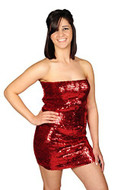 AK-Trading Exotic Glitzy Sequin Stretch Sequin Tube Dress (Red)