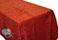AK-Trading RED Sequin Rectangular Tablecloth, Rain Drops Sequin Taffeta Fabric Sequin Table Cover- RED