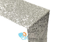 AK-Trading Sequin Runner, 12x108 Inch Rain Drops Sequin Taffeta Fabric Sequin Runner (Silver)