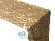 AK-Trading Sequin Runner, 12x60 Inch Rain Drops Sequin Taffeta Fabric Sequin Runner (Gold)