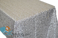 AK-Trading SILVER Sequin Rectangular Tablecloth, Rain Drops Sequin Taffeta Fabric Sequin Table Cover- SILVER
