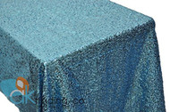 AK-Trading TURQUOISE Sequin Rectangular Tablecloth, Rain Drops Sequin Taffeta Fabric Sequin Table Cover- TURQUOISE