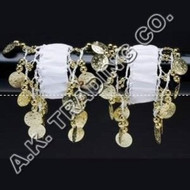 Belly Dance Dancing Arm Cuffs Bracelet - WHITE/GOLD (PAIR)