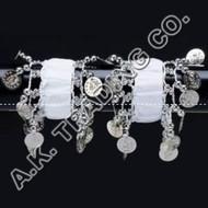 Belly Dance Dancing Arm Cuffs Bracelet - WHITE/SILVER (PAIR)
