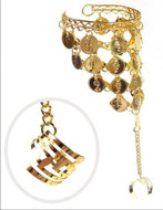 Belly Dance Dancing Metal Slave Bracelet with Coins - Gold