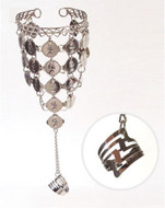 Belly Dance Dancing Metal Slave Bracelet with Coins - Silver