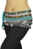 """Belly Dancing """"Gemstone"""" Deluxe Velvet Hip Scarf - Turquoise/Silver"""
