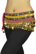 "Belly Dancing ""Gemstone"" Velvet Hip Scarf - Hot Pink/gold"