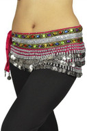 "Belly Dancing ""Gemstone"" Velvet Hip Scarf - Hot Pink/silver"