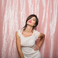 BLUSH PINK Sequin Taffeta Fabric Photography Backdrop, Sequin Photo Booth Backdrop, Sequin Drape - MADE IN USA - Select from 3 Sizes. (5ft x 6ft)