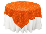 Grandiose Rose Design Rosette Table Overlay Table Cover - Orange (96x96)
