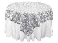 Grandiose Rose Design Rosette Table Overlay Table Cover - Silver (96x96)