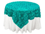 Grandiose Rose Design Rosette Table Overlay Table Cover - Turquoise (96x96)