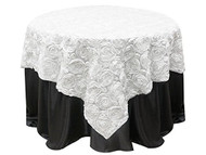Grandiose Rose Design Rosette Table Overlay Table Cover - White (96x96)