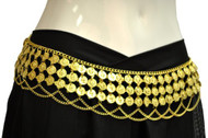 Gypsy Hippie Belly Dance Gold Metal Dangling Coins Chains Belt Adjustable