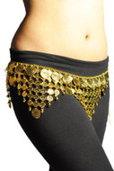 Gypsy Hippie Belly Dance Gold Metal Dangling Coins Chains Belt Adjustable - #B137G