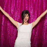 HOT PINK Sequin Taffeta Fabric Photography Backdrop, Sequin Photo Booth Backdrop, Sequin Drape - MADE IN USA - Select from 3 Sizes. (5ft x 6ft)