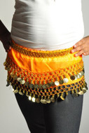 Kids Belly Dance Zumba Hip Scarf with Coins & Beads - Orange/Gold