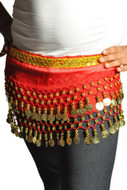 Kids Belly Dance Zumba Hip Scarf with Coins & Beads - Red/Gold