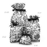"Pack of 12 - Damask Print Sheer Organza Favor Gift Bags - Select from 4 sizes (6""x10"")"