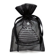 Pack of 12 Organza Mini Dress Bags - Couture Party Favor Bags for Bridal Shower or Bachelor Party (Black)