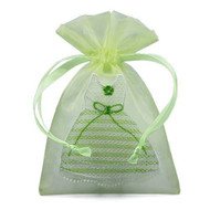 Pack of 12 Organza Mini Dress Bags - Couture Party Favor Bags for Bridal Shower or Bachelor Party (Green)