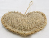 Package of 6 Rustic Natural Heart Shaped Burlap Ornaments with a Jute Hanger