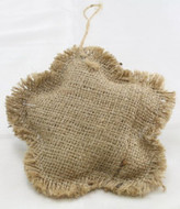 Package of 6 Rustic Natural Star Shaped Burlap Ornaments with a Jute Hanger