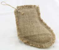 Package of 6 Rustic Natural Stocking Shaped Burlap Ornament with a Jute Hanger