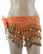 PEARL Belly Dance Hip Scarf with Gold Coins - Orange