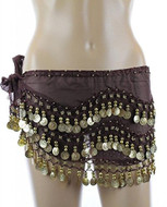 PEARL Belly Dance Hip Scarf, Hip Shakers Belly Dancing Skirt Coin Sash Costume with Gold Coins - Brown