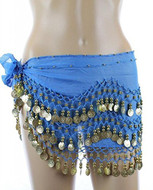 PEARL Belly Dance Hip Scarf, Hip Shakers Belly Dancing Skirt Coin Sash Costume with Gold Coins - Teal Blue
