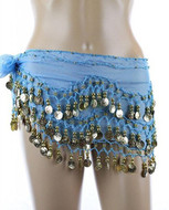 PEARL Belly Dance Hip Scarf, Hip Shakers Belly Dancing Skirt Coin Sash Costume with Gold Coins - Turquoise