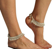 Pearl Pair of Belly Dance Exotic Fashion Bell Anklet - Silver (2pc)