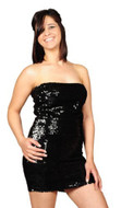 Pearl Women's Exotic Sexy Sparkly Sequin Tube Dress - BLACK