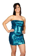 Pearl Women's Exotic Sexy Sparkly Sequin Tube Dress - TURQUOISE