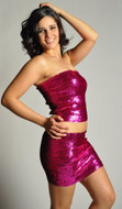Pearl Women's Exotic Sexy Sparkly Sequin Tube Top or Skirt - HOT PINK