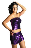 Pearl Women's Exotic Sexy Sparkly Sequin Tube Top or Skirt - PURPLE