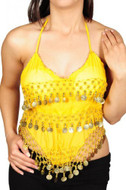 Pearl's Belly Dance Costume Coin Bra Halter Top with Silver or Gold Coins - 7 Colors