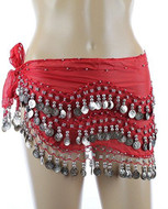 Plus Size Belly Dancing Hip Scarf - Red/Silver