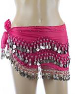 Plus Size XL Chiffon Belly Dance Hip Scarf Wrap Belt Tribal Sash Skirt Silver Coins - Fuchsia
