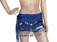 Plus Size XL Chiffon Belly Dance Hip Scarf Wrap Belt Tribal Sash Skirt Silver Coins - Royal Blue