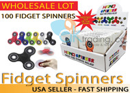 AK-Trading - LOT OF 100 - Tri Spinner Fidget Gadget Hand EDC Triangle Toy Wholesale Assorted Colors (BULK LOT OF 100) - Comes with Display Box