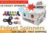 AK-Trading - LOT OF 24 - Tri Spinner Fidget Gadget Hand EDC Triangle Toy Wholesale Assorted Colors (BULK LOT OF 24) - Comes with Display Box