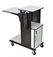"Black HD Presentation station W/Storage trays, 3 Outlet W/4"" HD Castors"